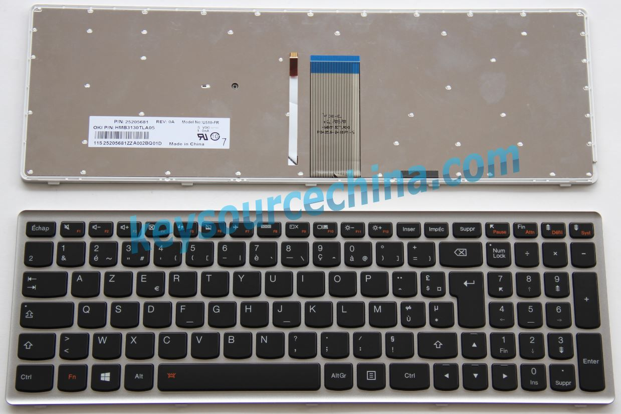 Lenovo IdeaPad U510 Z710 Backlit Clavier pour ordinateur portable Français/French(FR)