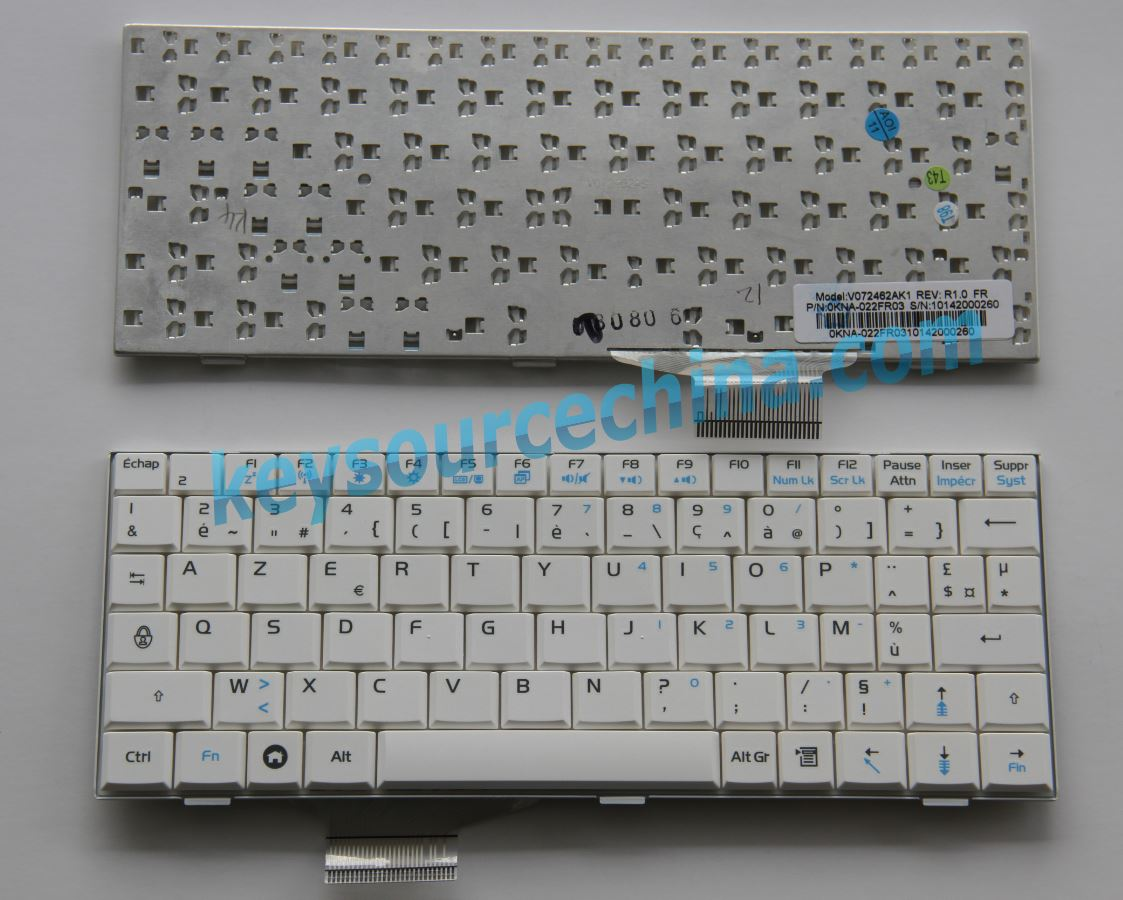 0KNA-022FR03, ASUS EEE PC 700 701 900 901 White Clavier Français/French(FR)