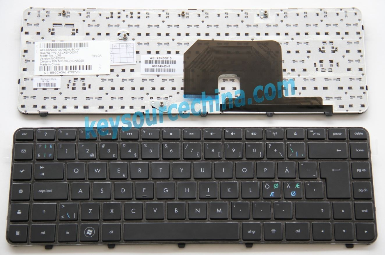 MP-09L76DN6920 Original HP Pavilion DV6-3000 Series DV6-3100 DV6-3200 DV6-3300 Nordic keyboard