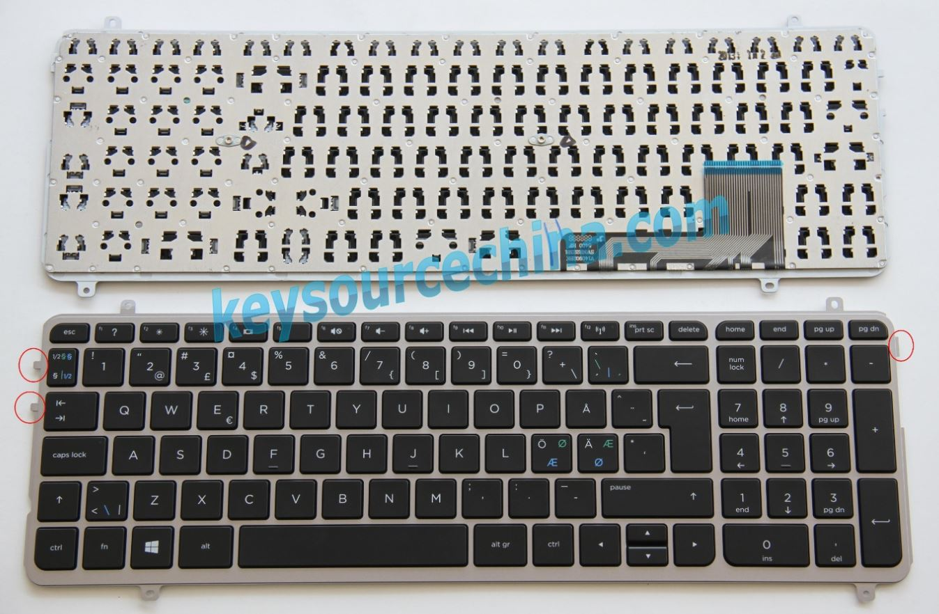 Original HP Envy TouchSmart M6-K M6-K015DX Nordic keyboard
