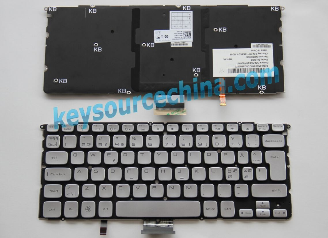 MP-10K86DNJ9201 Original Dell XPS 14z 15z L412z L511z Nordic Keyboard