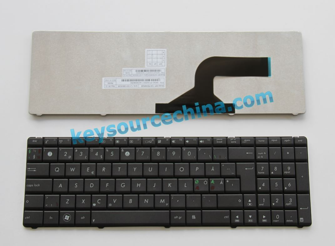 04GN0K1KND00-2 ASUS P53 X55 X75 A54 Nordic keyboard gray