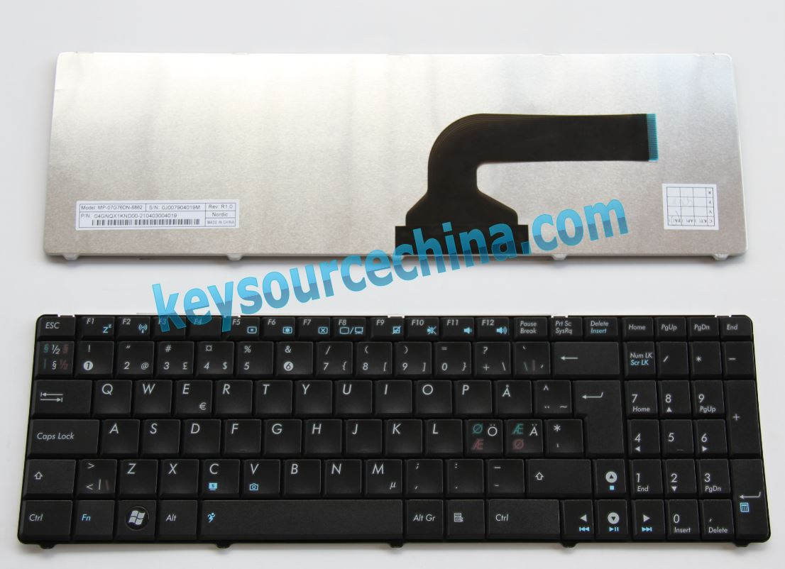 Asus n50 Nordic laptop keyboard,MP-07G76DN-8862,04GNQX1KND00-2