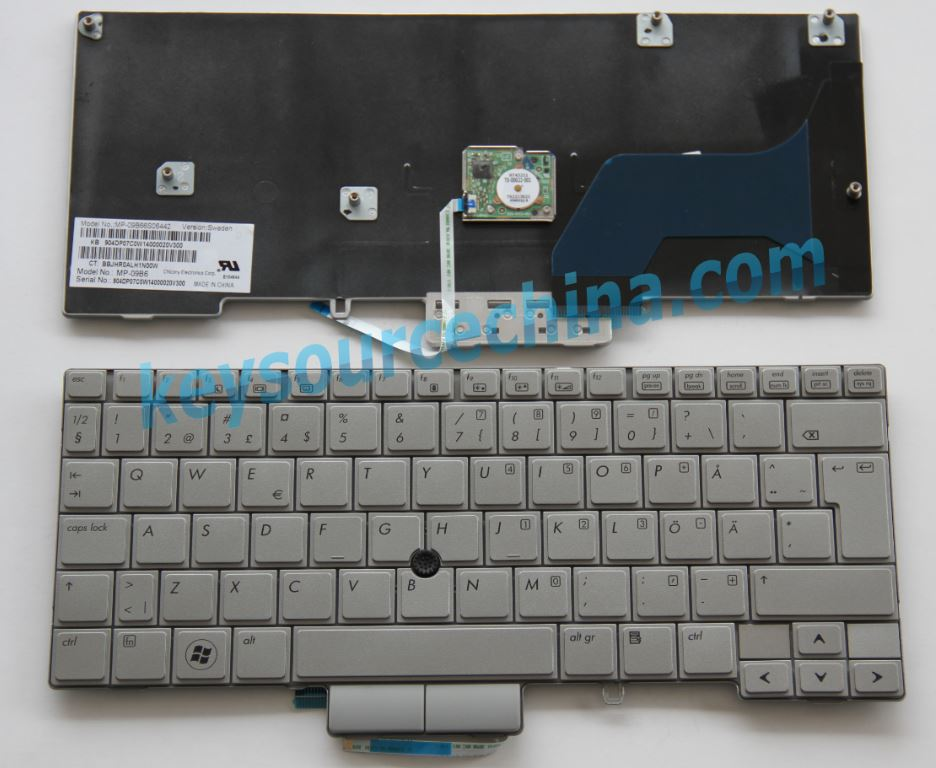 HP EliteBook 2740P Swedish-Finnish laptop keyboard P/N MP-09B66S06442