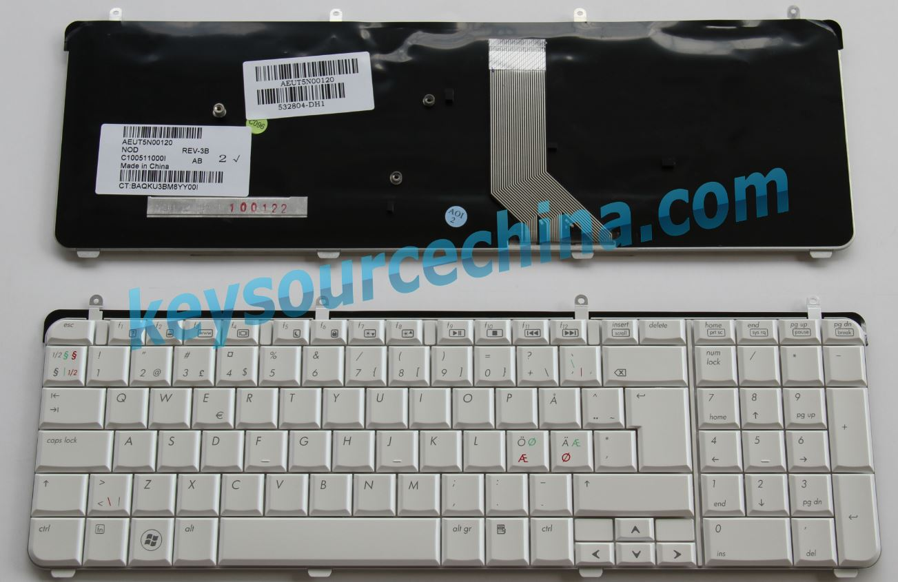 532804-DH1 570140-DH1 HP dv7-2000 dv7-3000 series Nordic keyboard