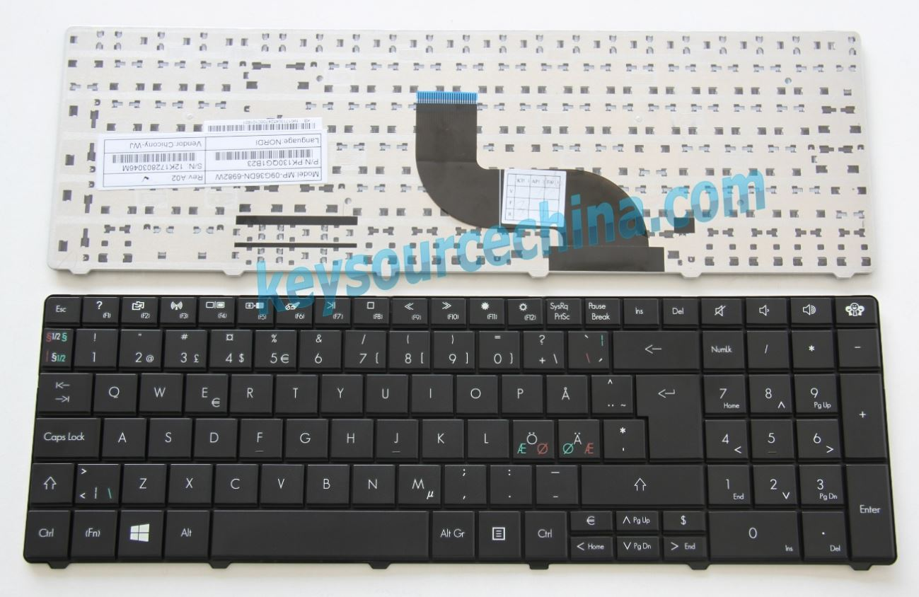 MP-09G36DN-6982W Original Packard Bell EasyNote LE11 LE11BZ LE69KB TE11 TE11BZ TE11HC TE11HR TE69 TE69KB TE69HW TE69CXP EG70 Nordic keyboard