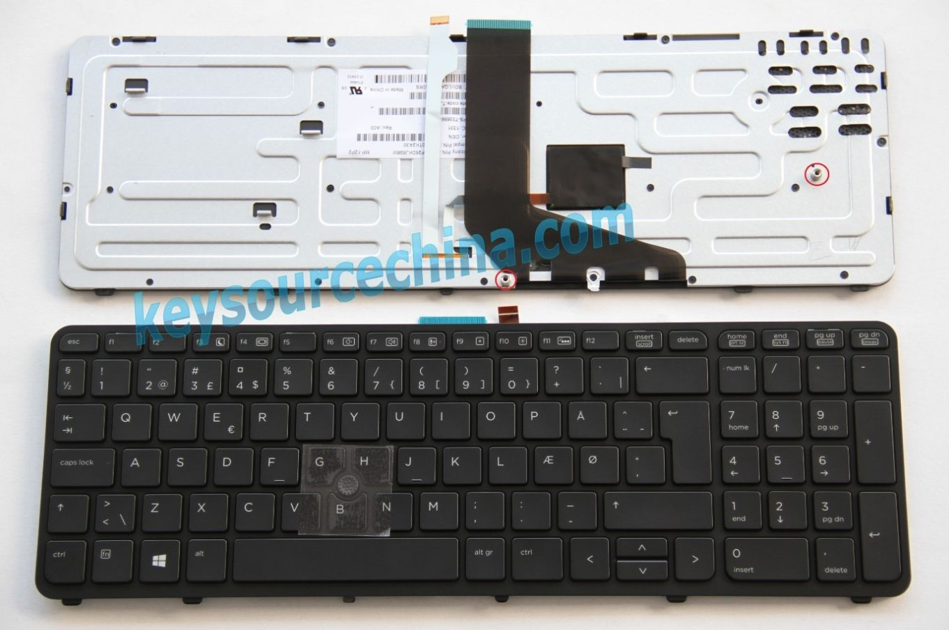 MP-12P26DKJ698W Originalt HP ZBook 15, ZBook 17 Mobile Workstation Æ Ø Dansk bærbar tastatur