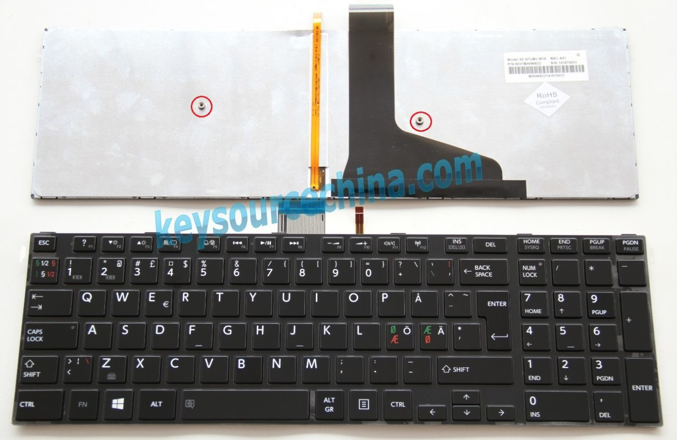 9Z.N7UBV.M1K Originalt Toshiba Satellite S50-A S50D-A S50t-A S70-A S70t-A S75-A Nordic Keyboard
