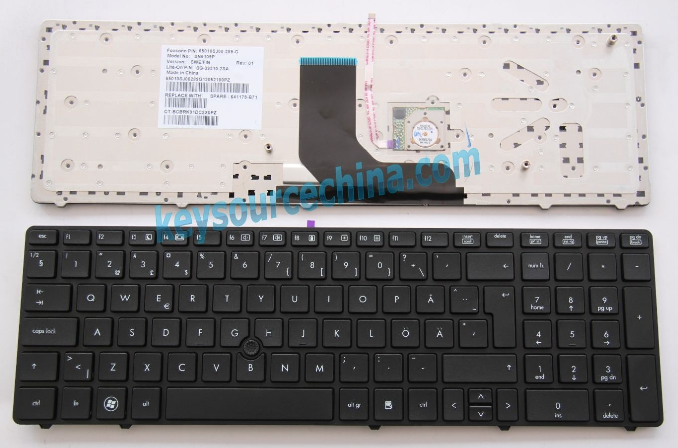 SG-39310-2SA Originalt HP Probook 6560b 6565b 6570b Swedish Keyboard