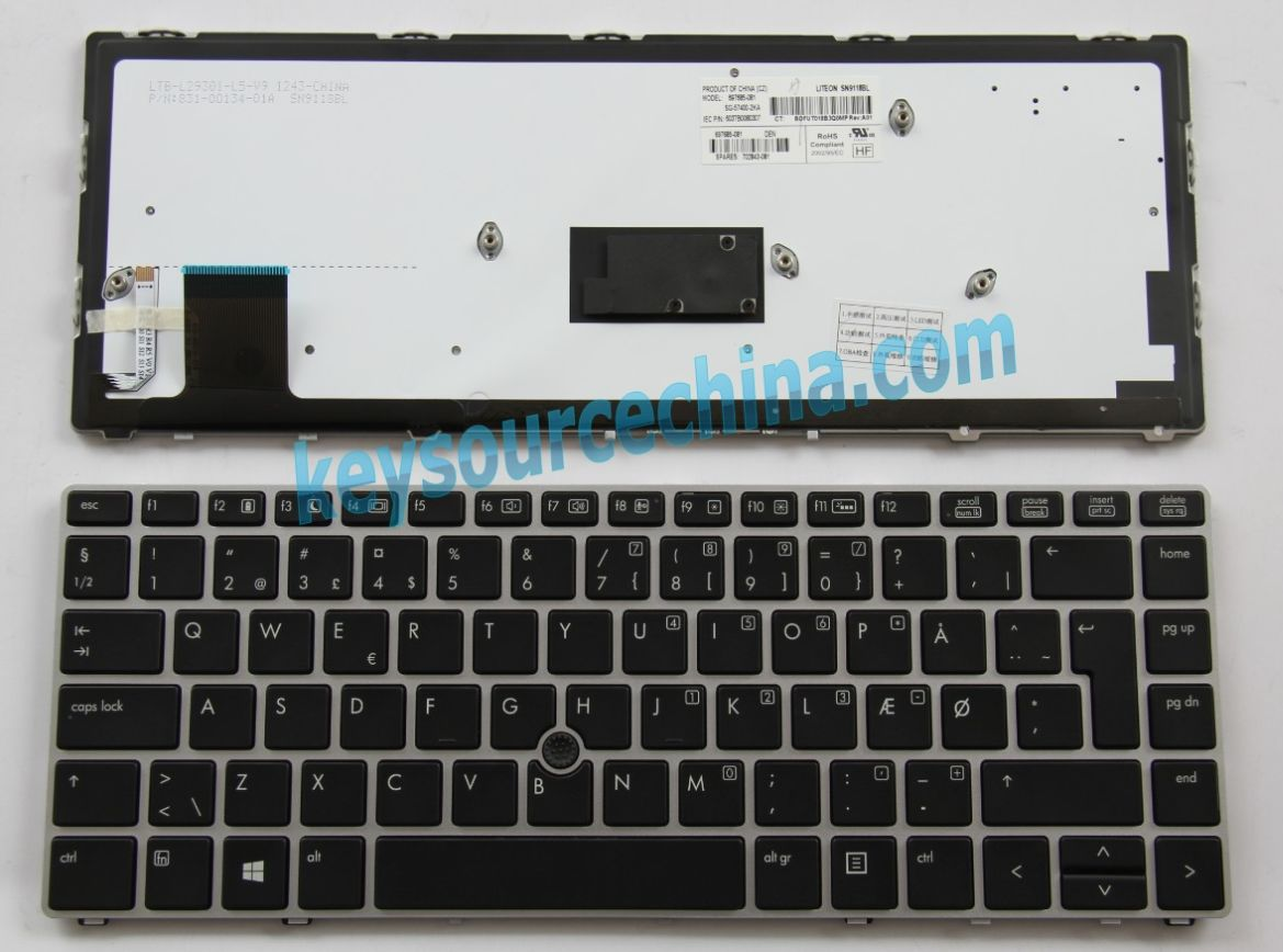 702843-081 Originalt HP EliteBook Folio 9470m Danish Keyboard