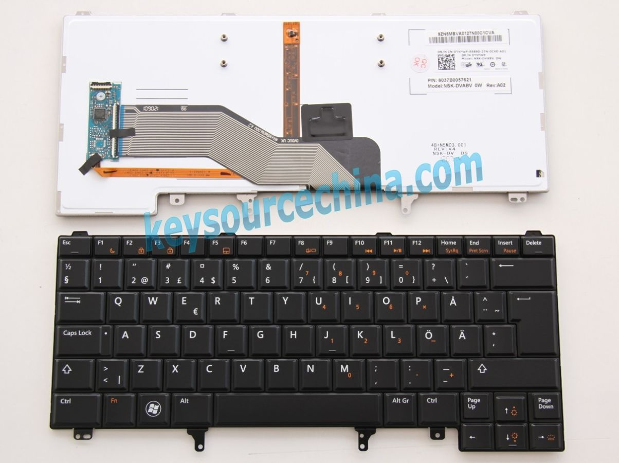 NSK-DVABV 0W Originalt Dell Latitude E5420 E5430 E6220 E6230 E6320 Swedish Finnish Keyboard