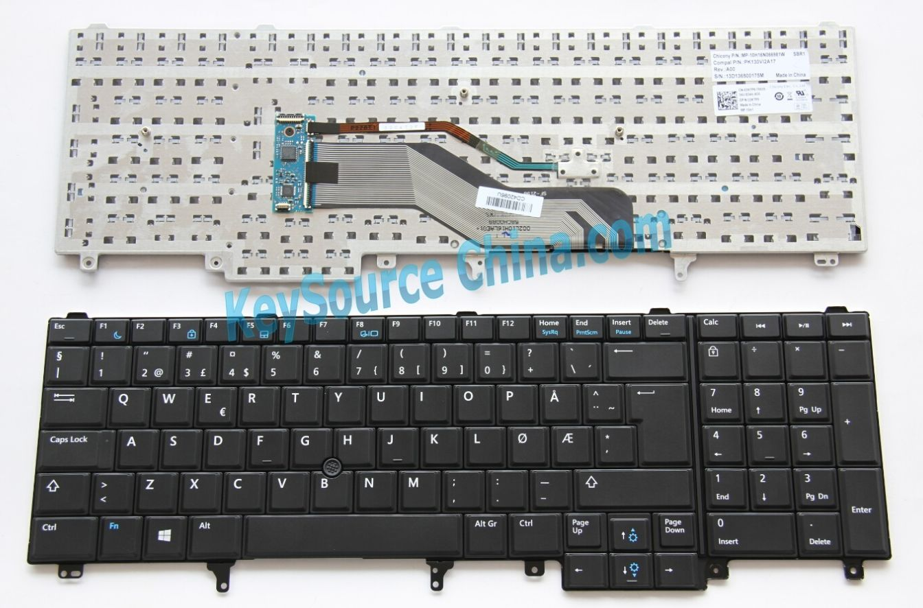 MP-10H16N066981W Originalt Dell Latitude E5520 E5530 E6520 E6530, Precision M4600 M6600 Norwegian Keyboard