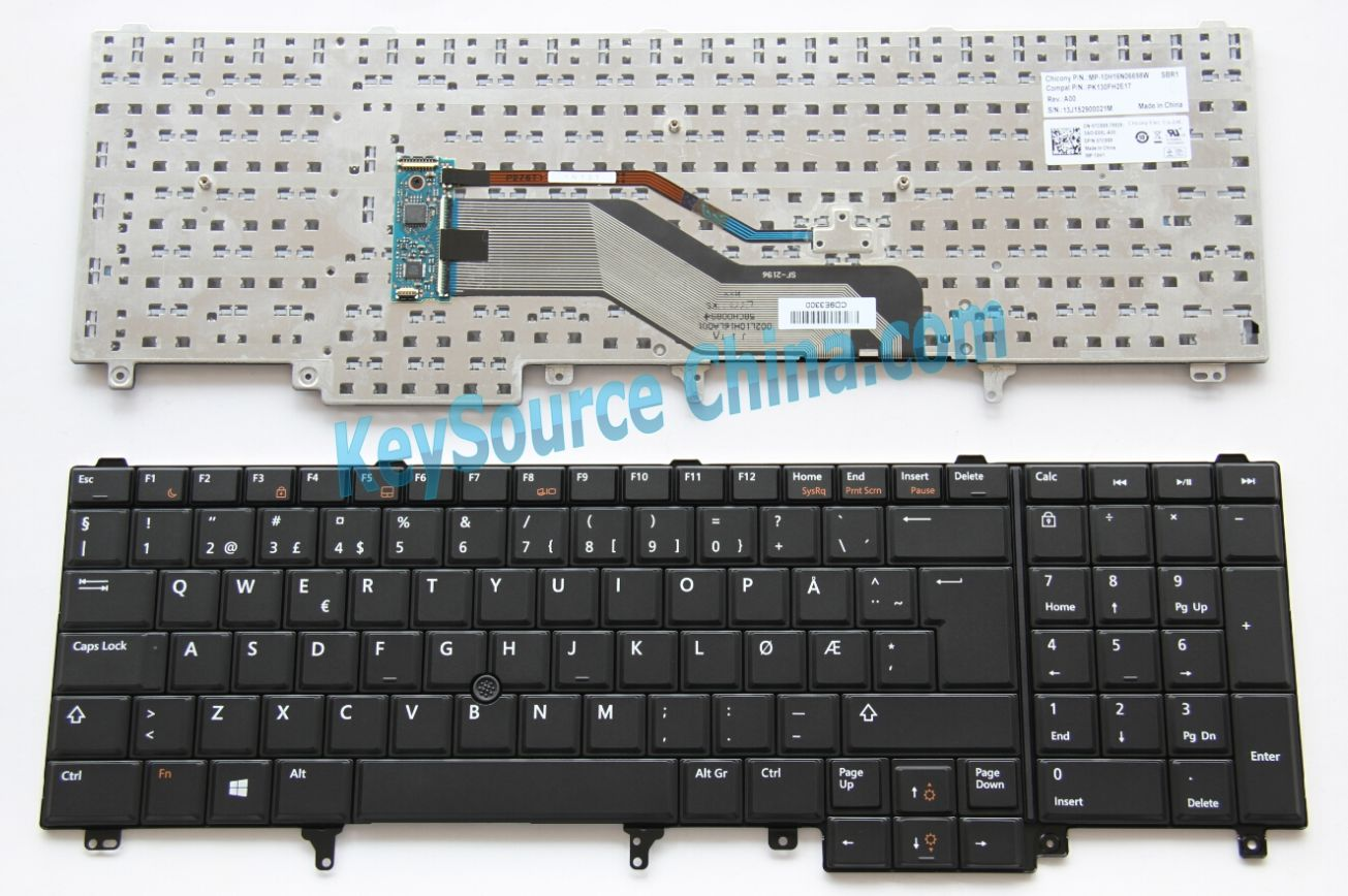 MP-10H16N06698W Originalt Dell Latitude E5520 E5530 E6520 E6530, Precision M4600 M6600 Norwegian Keyboard