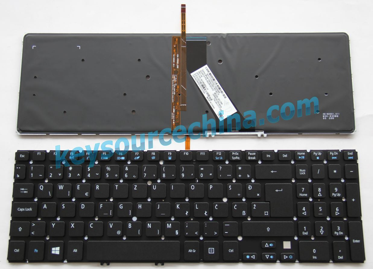 9Z.N8QBQ.L1F Slovenian Croatian Serbian Bosnia Montenegr Laptop Keyboard for Acer Aspire V5-531G V5-571G M3-581GS M5-581G