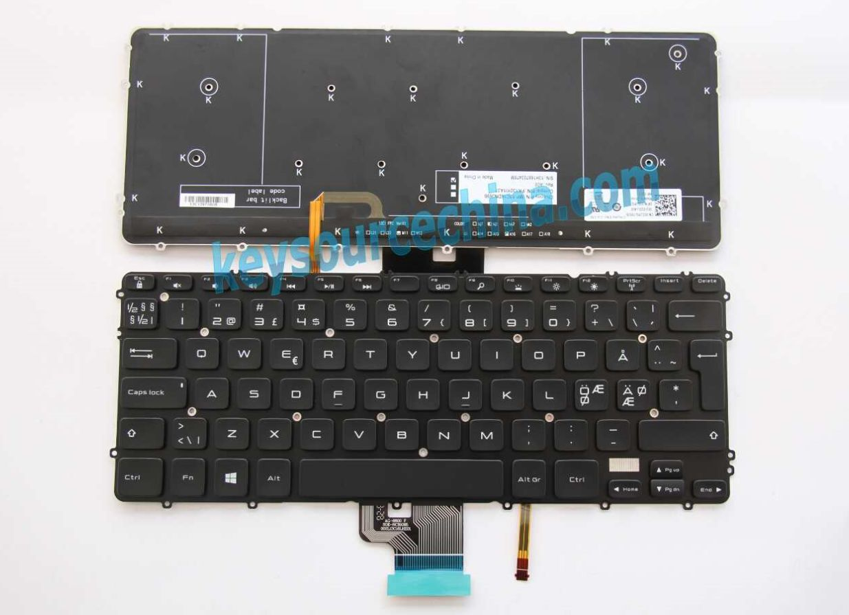 MP-13C16DNJ698 Originalt Dell Precision M3800, XPS 15 9530 15-9530 Nordic Keyboard backlit