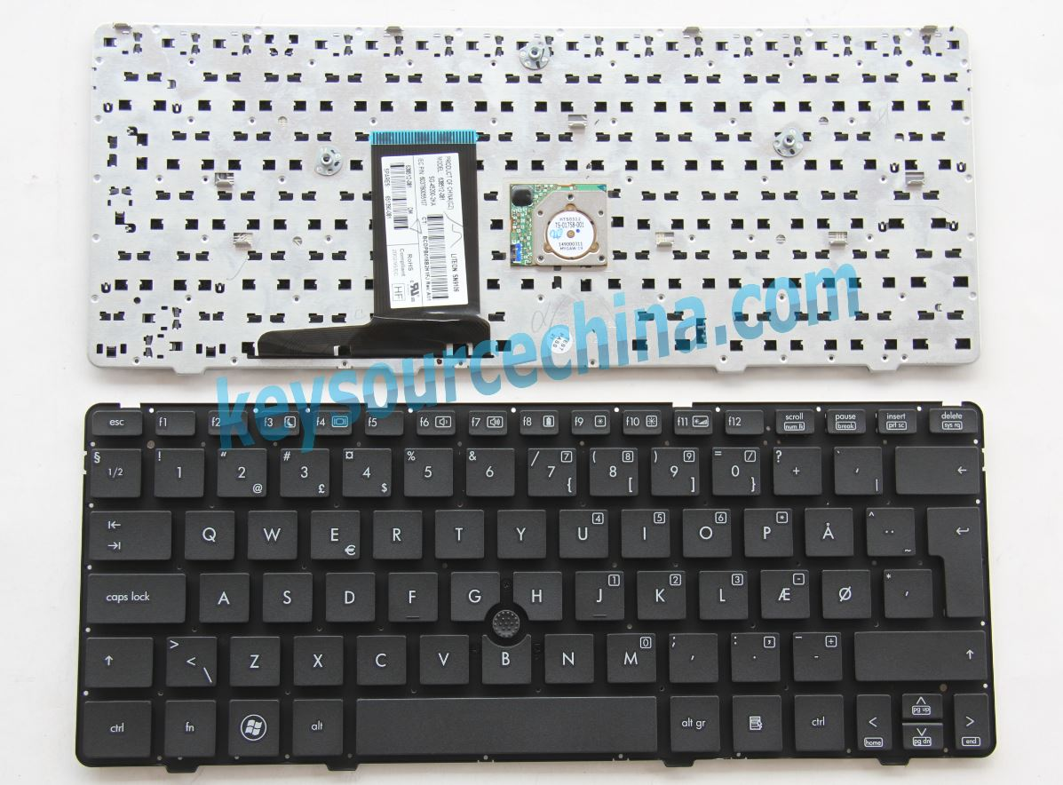 SG-45200-2KA Originalt HP EliteBook 2560p 2570p without frame Danish Keyboard