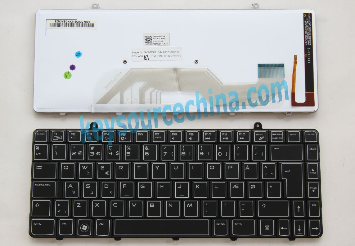 V109002DK1 Originalt Backlit Dell Alienware M11x R2, M11x R3 Danish Keyboard