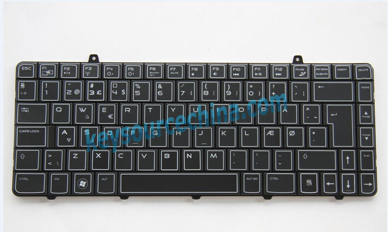 V109002CK1 Originalt Backlit Dell Alienware M11x R1 0MNXVV Danish Keyboard