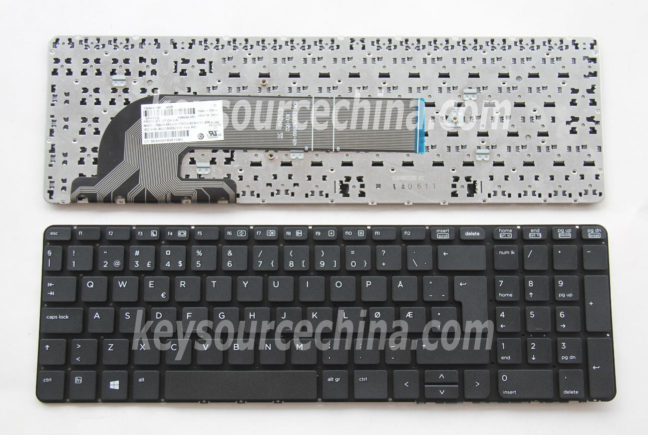 9Z.N9KSV.A0N Originalt HP ProBook 450 G0, 450 G1, 450 G2, 455 G1, 455 G2, 470 G0, 470 G1, 470 G2 Norwegian Keyboard without frame