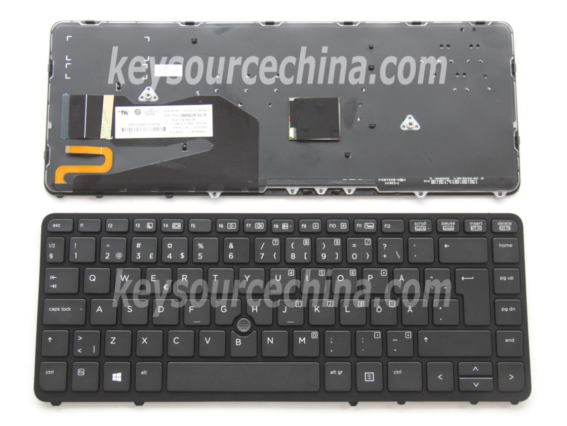 9Z.N9JBV.20W Original HP EliteBook 740 G1, 750 G1, 840 G1,840 G2,850 G1, ZBook 14 G2,15u G2 Swedish Finnish Keyboard