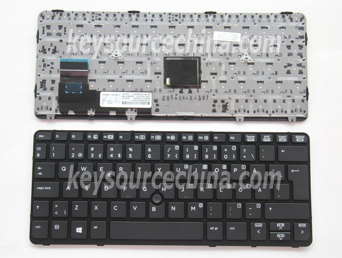 9Z.N9WBV.10W Original HP EliteBook 720 G1, 720 G2, 820 G1, 820 G2 Swedish Finnish Keyboard