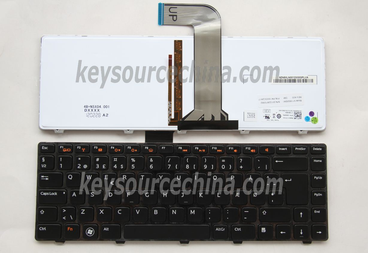 V119525EK1 Originalt Dell Inspiron N4110 N5040, Vostro V131 3450, XPS 15 L502 Danish Keyboard