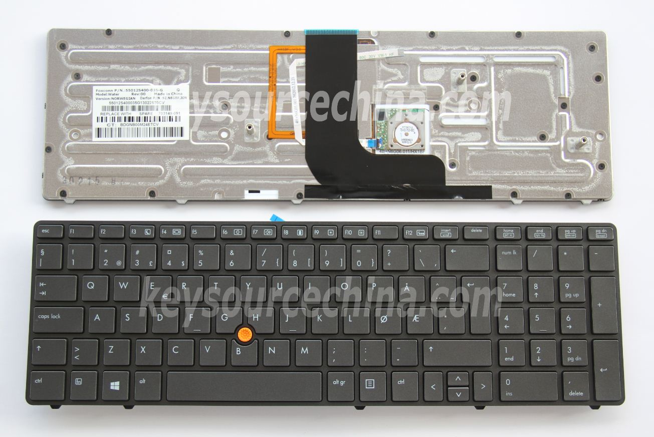9Z.N6GBF.J0N Originalt HP EliteBook 8560w 8570w Mobile Workstation Norwegian Keyboard Backlit