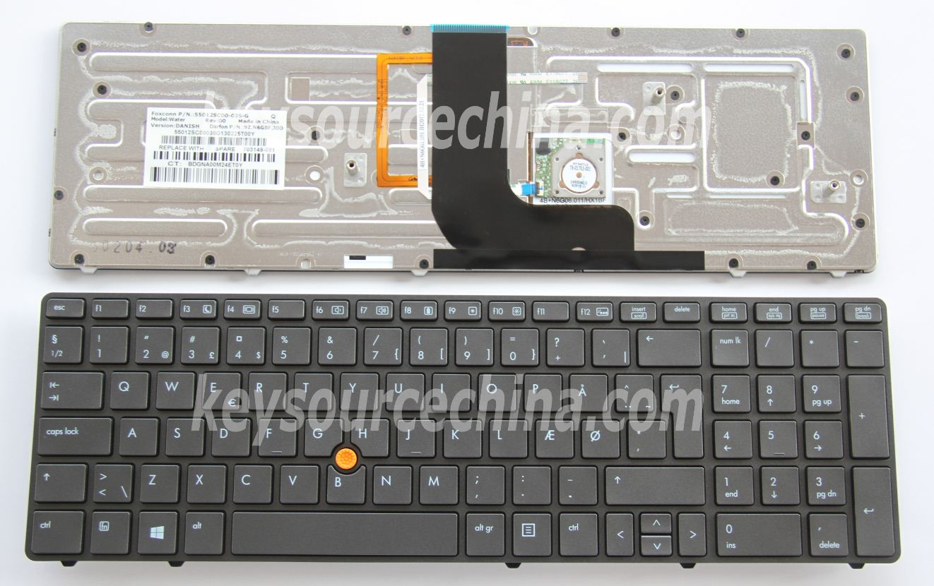9Z.N6GBF.J0D Originalt HP EliteBook 8560w 8570w Mobile Workstation Danish Keyboard Backlit
