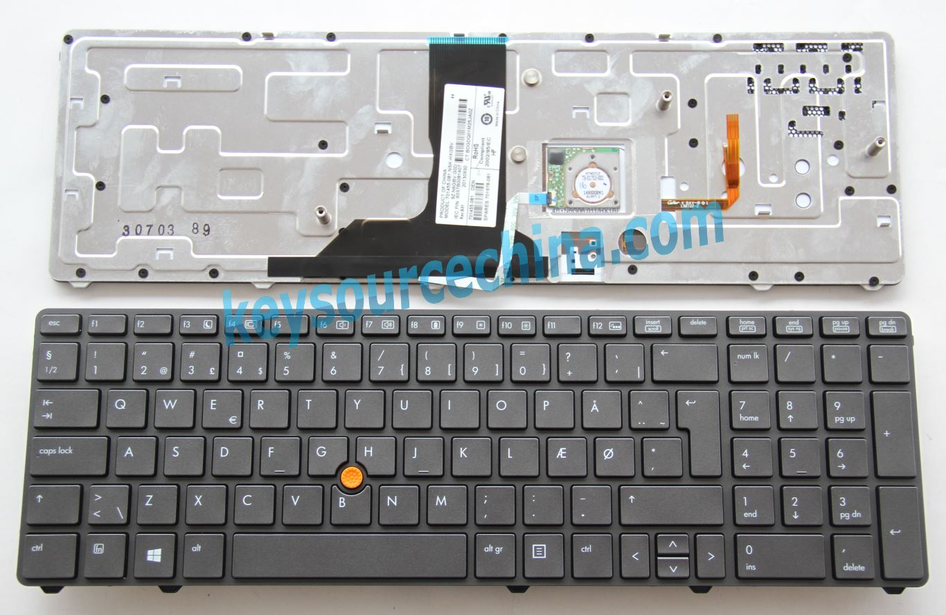 9Z.N6GBV.G0D Originalt Backlit HP EliteBook 8760w 8770w Mobil Workstation Danish Keyboard