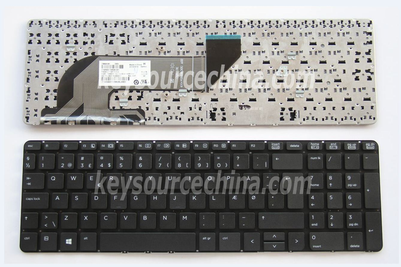 9Z.N9KSV.A0D Originalt HP ProBook 450 G0, 450 G1, 450 G2, 455 G1, 455 G2, 470 G0, 470 G1, 470 G2 Danish Keyboard without frame