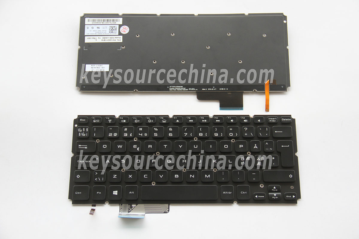 PK130O11B18 Originalt Dell XPS 14-L421X 15-L521X Nordic Keyboard backlit