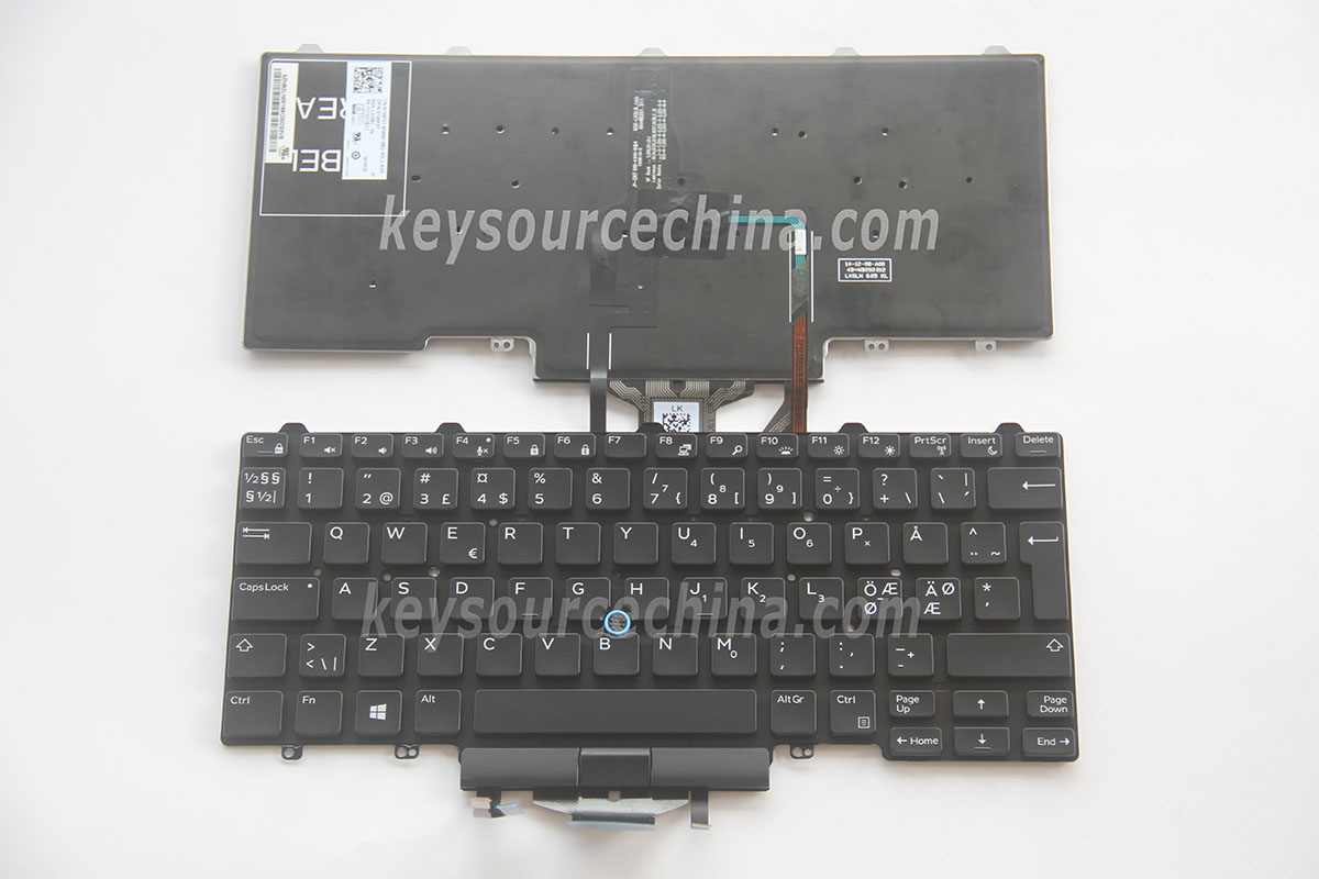 NSK-LK0BC 1N Originalt Dell Latitude E5450 E7450 Nordic Keyboard Backlit