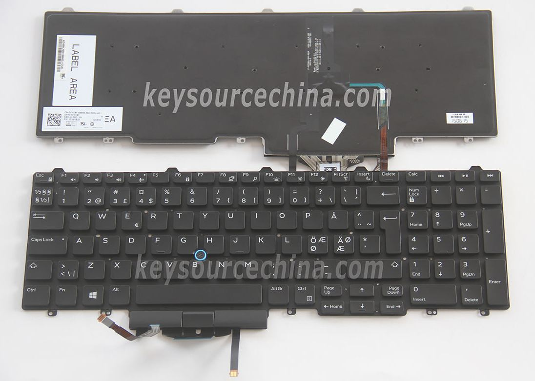 NSK-LL0BC 1N Originalt Dell Latitude E5550 Nordic Keyboard Backlit