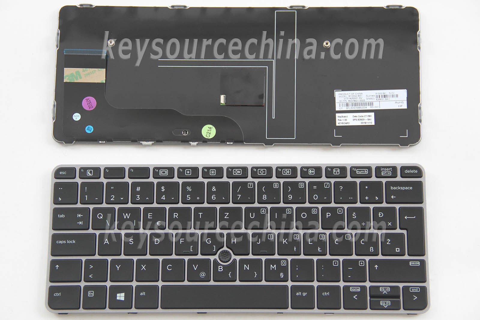 813302-BA1 HP EliteBook 725 G3 820 G3 725 G4 820 G4 Tipkovnica Slovenian Bosnian Croatian Serbian Laptop Keyboard